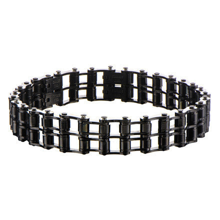 Men's Stainles Steel Black IP Double Motor Chain Design Bracelet
