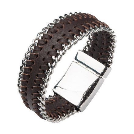 Men's Brown Leather Bracelet w/ Stainless Steel Curb Chain at Both Sides