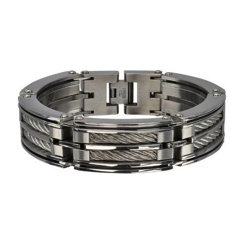 Men's Stainless Steel Two Big Cable Chunky Polished Bracelet