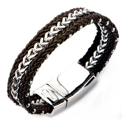 Double Braided Brown Leather Bracelet w/ Steel Franco Chain