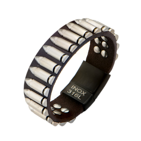 Dark Brown Leather & Steel Bullet Bracelet