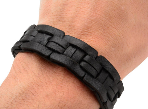Blocked Black Leather Bracelet