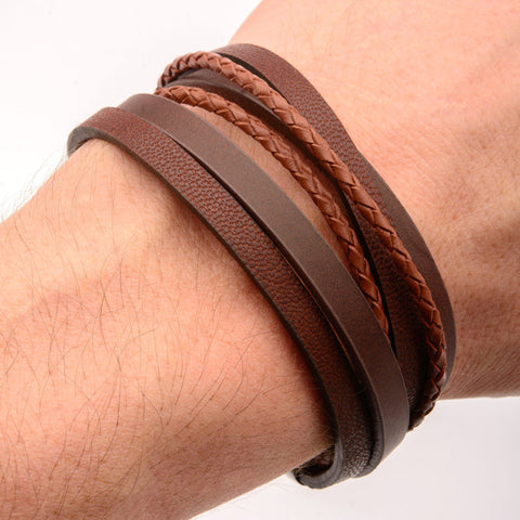 Light Brown Wrapped w/ Dark Leather Bracelet