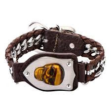 Interwoven Steel Curb Chain and Brown Leather with Tiger Skull Bracelet
