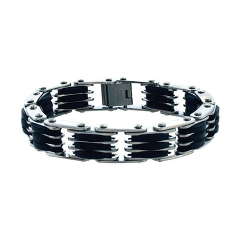Black Rubber & Stainless Steel Link Bracelet