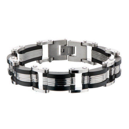 Titanium Link Bracelet w/ IP Black Edges