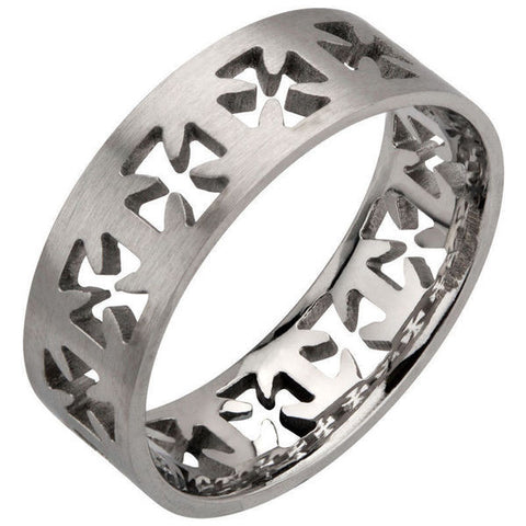 Stainless Steel Cut Out Iron Cross Ring