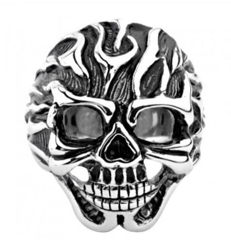 Stainless Steel Black Oxidized Flaming Skull Ring