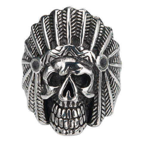 Stainless Steel Black Oxidized Indian Chief Skull Ring