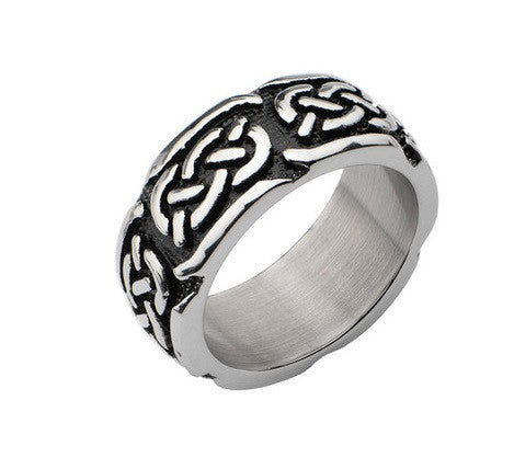 Stainless Steel Black Oxidized Celtic Design Ring