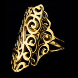 Stainless Steel IP Gold Filigree Flower Polish Finished Ring