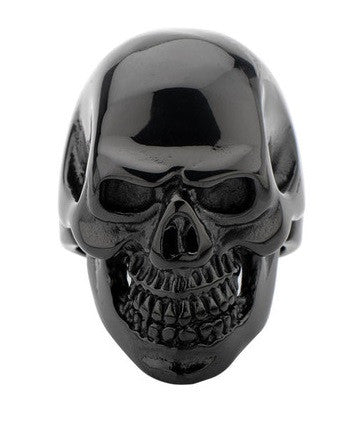 Stainless Steel IP Black Skull All Teeth Out Ring