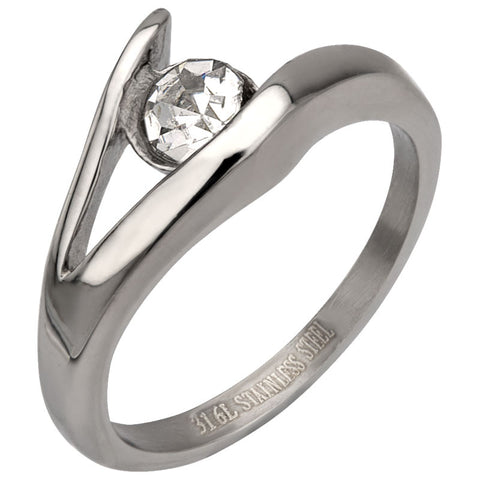 Stainless Steel Ring w/ Open Setting CZ