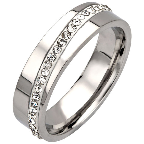 Stainless Steel Band Ring w/ line of CZs
