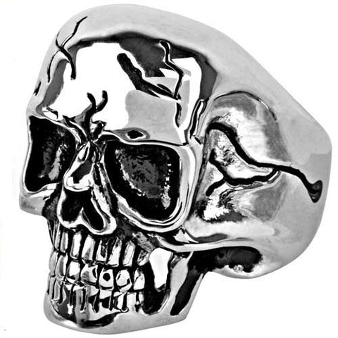 Stainless Steel Black Cracks Skull Ring
