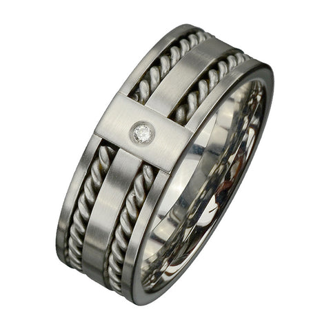 Stainless Steel Band w/ Twisted Cable Inlay & CZ