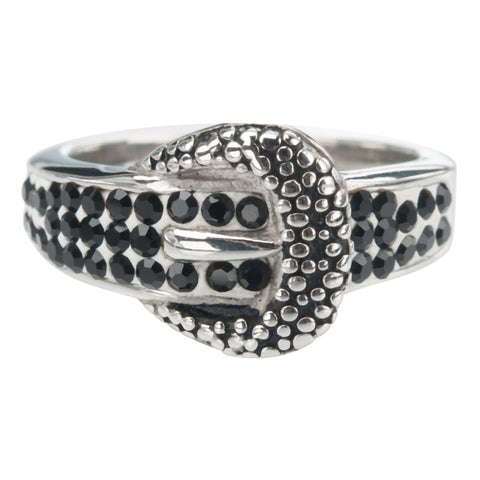 Stainless Steel Black Oxidized Buckle Ring w/ Black Pave Stones