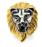Stainless Steel IP Gold & Steel Black Oxidized Lion Head Ring