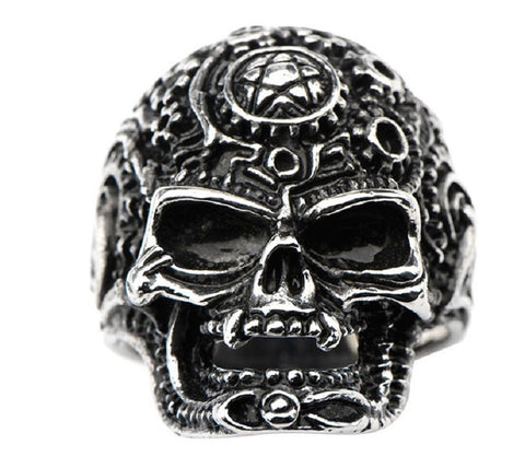 Stainless Steel Black Oxidized Devil Star Skull Ring