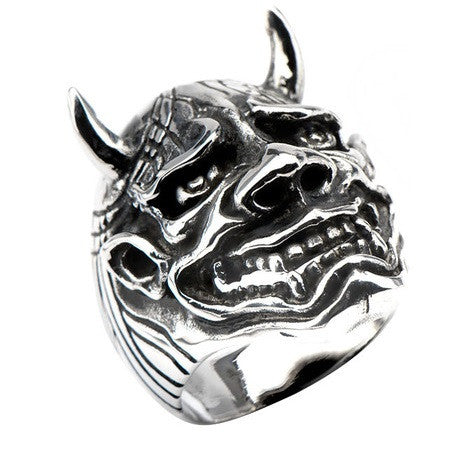 Stainless Steel Black Oxidized Hanya Mask Ring