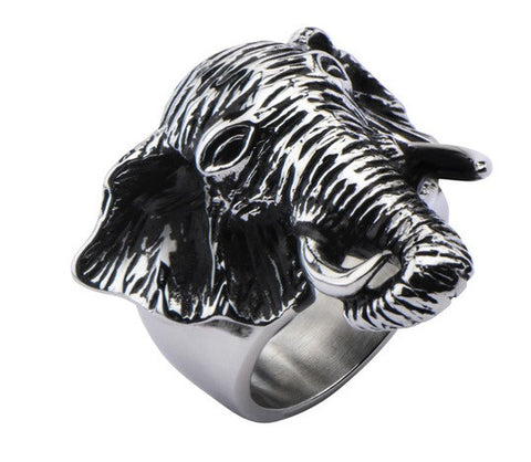 Stainless Steel Black Oxidized Elephant Head Ring