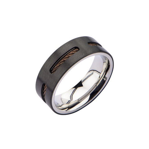 Stainless Steel IP Black w/ Brown Cable Inlay Ring
