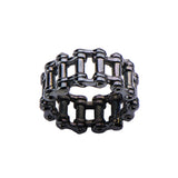 Stainless Steel Black IP Double Motor Chain Design Ring
