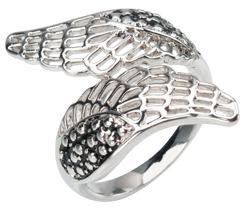 Stainless Steel Black Oxidized Cut Out Wrap Wing Ring