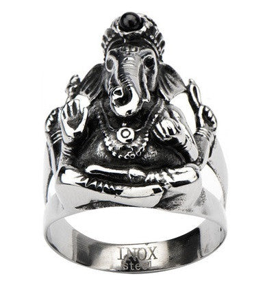 Stainless Steel Black Oxidized Ganesh Ring