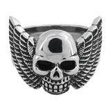 Stainless Steel Black Oxidized Skull Ring w/ Wings