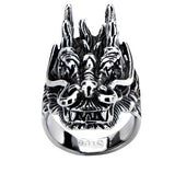 Stainless Steel Black Oxidized Dragon Head Ring