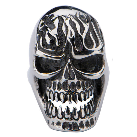 Stainless Steel Polish Finished Skull Ring with Flamed Forehead