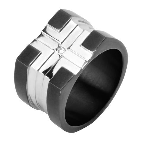 Stainless Steel Polish Finished Cross Ring w/ Black IP Plating & Cz