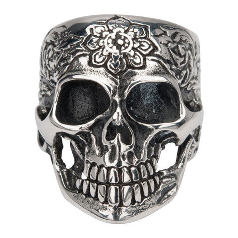 Stainless Steel Sovereign Black Oxidized Flower Skull Ring