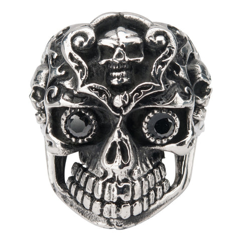 Stainless Steel Black Oxidized Multi-Skull Colored Ring