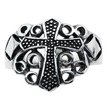 Stainless Steel Black Oxidized Cross Ring