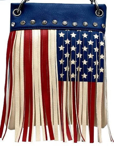CHIC410-BLUE crossbody handbag - American FLAG Fringe