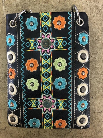 CHIC266-BLK Western feel and multi embroidery design crossbody handba