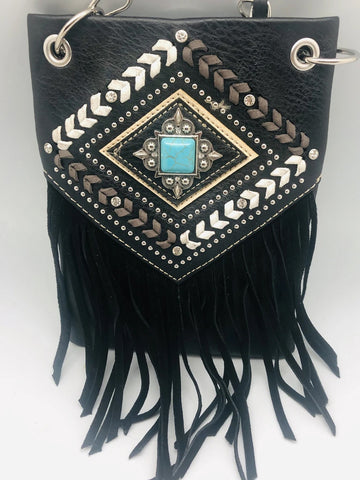 CHIC728-BLK crossbody handbag - FRINGE with crystals