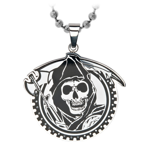 Sons of Anarchy Stainless Steel Grim Reaper Geard with Gunsickle Pendants with Ball Chain