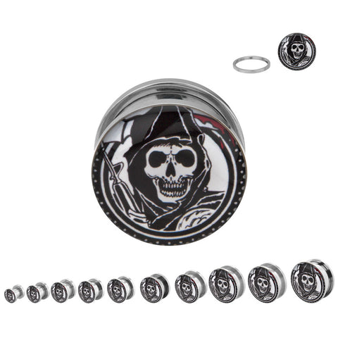 Sons Of Anarchy Reaper Screw Fit Steel Plugs