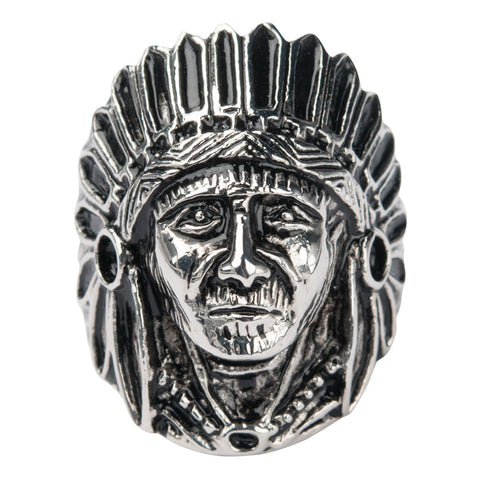 Stainless Steel Black Oxidized Indian Chief Face Ring