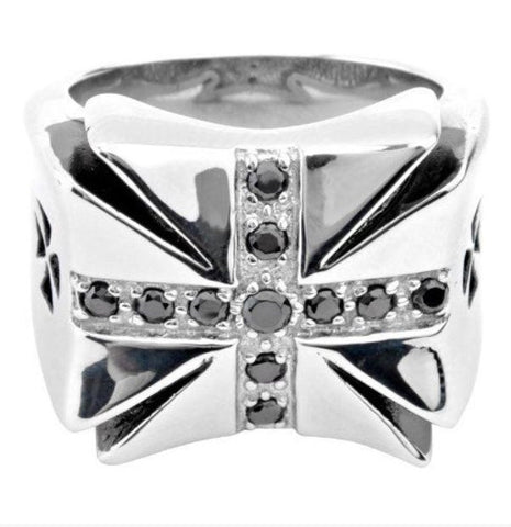 Stainless Steel Iron Cross Ring w/ Black CZ's