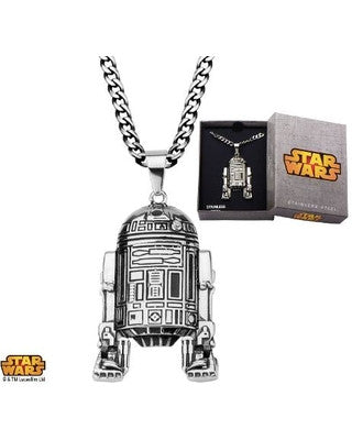 "Stainless Steel Star Wars R2D2 Pendant with 24"" Chain"