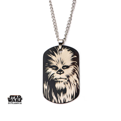 "Stainless Steel Star Wars Chewbacca Face Dog Tag Pendant with 24"" Chain"