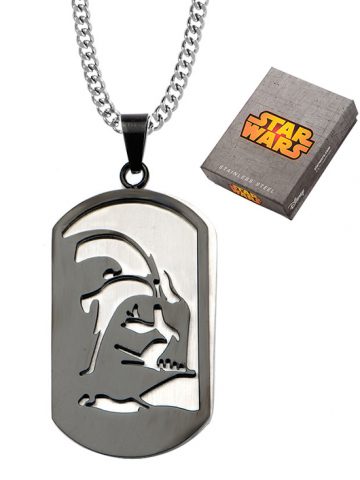 "Stainless Steel Darth Vader Layer Dog Tag Pendant with 24"" Chain"