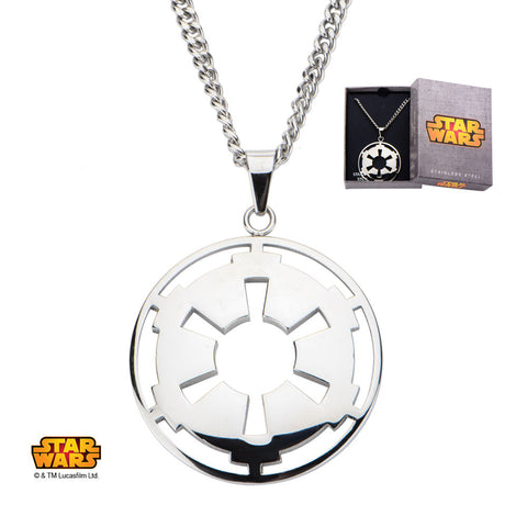 "Stainless Steel Star Wars Galactic Empire Symbol Enamel Pendant with 24"" Chain"