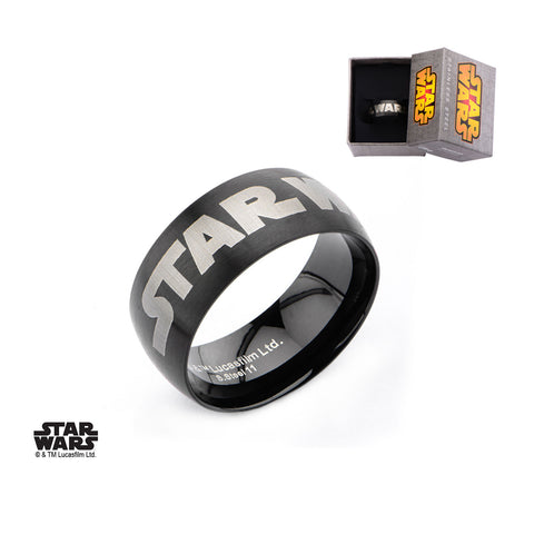 Stainless Steel IP Black Star Wars Logo Ring