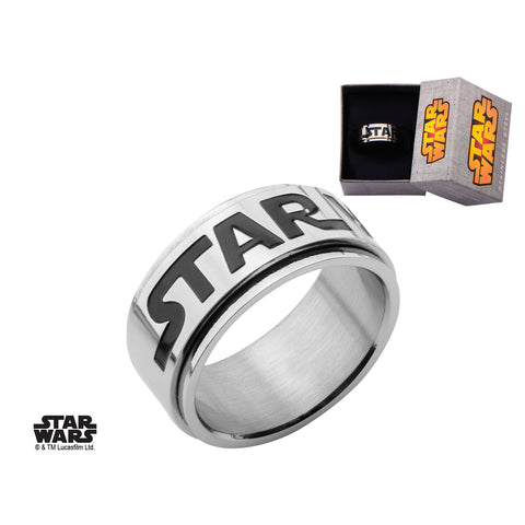 Stainless Steel Star Wars Logo Spinner Ring
