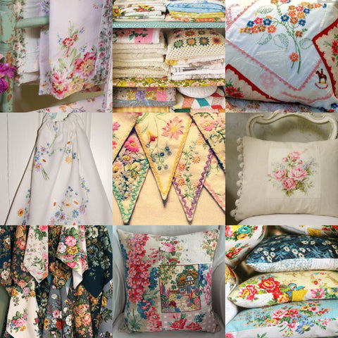 Vintage floral fabric made into cushions The White Robin